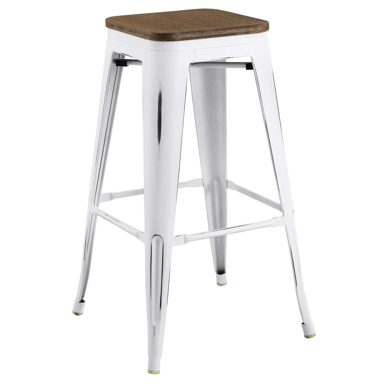 Modway Promenade Industrial Modern Aluminum Backless Bistro Bar Stool with Bamboo Seat in White