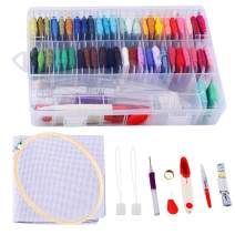 Yinuoday Embroidery Starter Kit with 50 Color Threads, Cross Stitch Tool Kit Sewing Pins, Aida Cloth, Embroidery Hoops Full Range of Hand Embroidery Kit for Adults and Kids Beginners