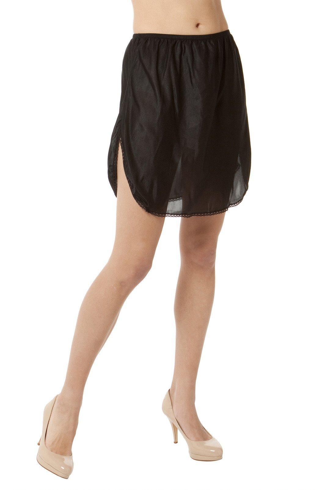 "Malco Modes 20"" Luxury Double Slit Half Slip Underskirt - Nylon w/Lace"