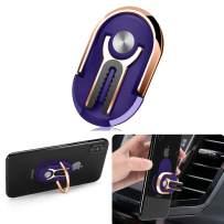 Phone Ring Holder Finger Kickstand, Multipurpose Phone Bracket, Universal Air Vent Car Phone Mount 3 in 1 Mobile Phone Stand 360 Degree Rotation(Blue)