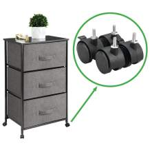 mDesign Vertical Rolling Dresser Storage Tower - Mobile Organizer for Bedroom, Hallway, Entryway, Closets - Metal Frame, Wood Top, Locking Wheels - 3 Fabric Drawers, Textured - Charcoal Gray/Black