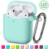 Wepro Protective Cover Designed for AirPod Case (Front LED Visible), Silicone Cases Cover Skin Compatible with AirPods 2 & 1 Charging Case, with Keychain, Boys, Girls (Ocean Green)