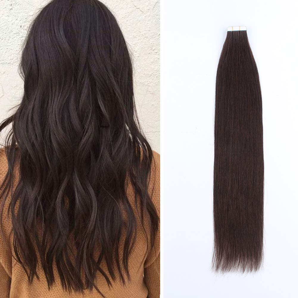 Sassina Real Remy Tape in Hair Extensions Dark Brown Natural Human Hair Extensions Semi-permanent Invisible Skin Weft for Full Head Dip Dyed Color #2 Brown 50g 20pc per set 14 Inch