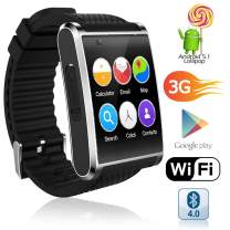 Indigi New 2019 3G Android 5.1 Smart Watch Phone (GSM Factory Unlocked) Maps + WiFi + GPS + Google Play