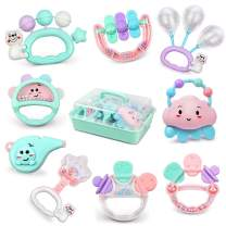 Daisy Baby Toys Rattles Set Infants Teething Play Toys 9 Pcs with Storage Box Babies Grab Shaker and Spin Shaking Bell Rattle Toy for Toddler Newborn Baby 3, 6, 9, 12 Month