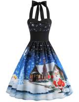 LeaLac Women's Christmas Halter Dress High Waist Christmas 1950s Vintage Casual Party Cocktail Swing Dress