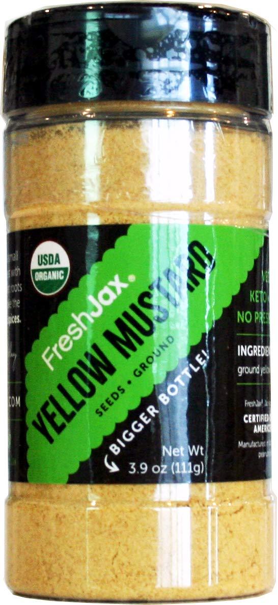 FreshJax Premium Organic Spices, Herbs, Seasonings, and Salts (Certified Organic Yellow Mustard Powder - Large Bottle)