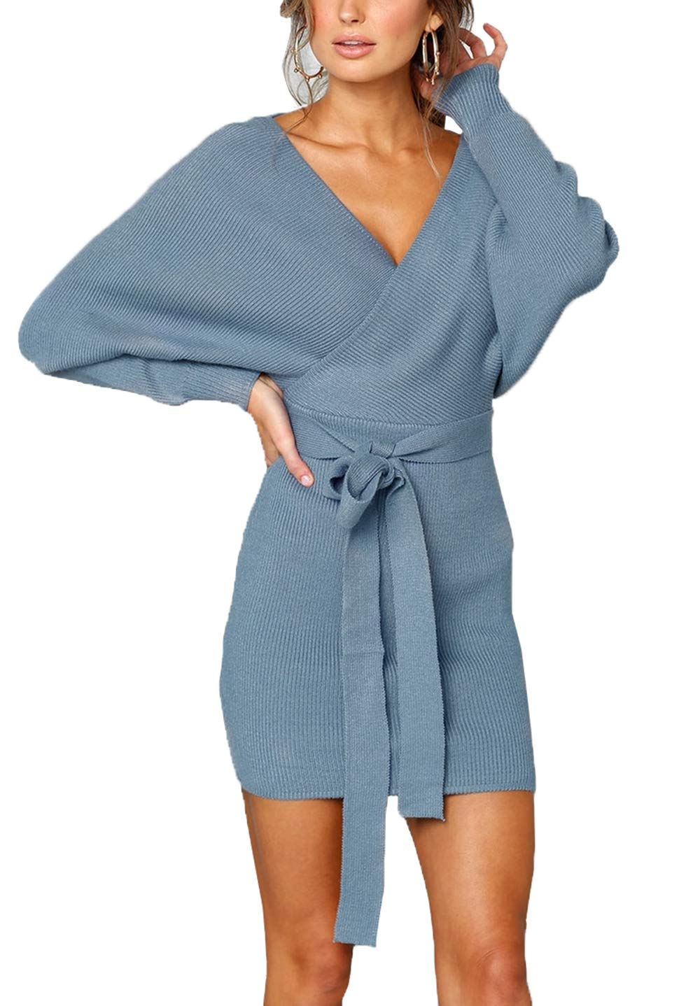 Suimiki Women's Sexy V Neck Wrap Backless Bodycon Pencil Dress