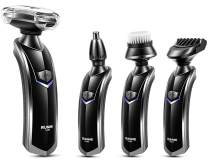 RUNWE All-In-1 Men's Grooming Kit, Electric Rotary Shaver Beard Trimmer Nose Hair Trimmer Face Cleaning Brush with Cordless Charging Dock for Men