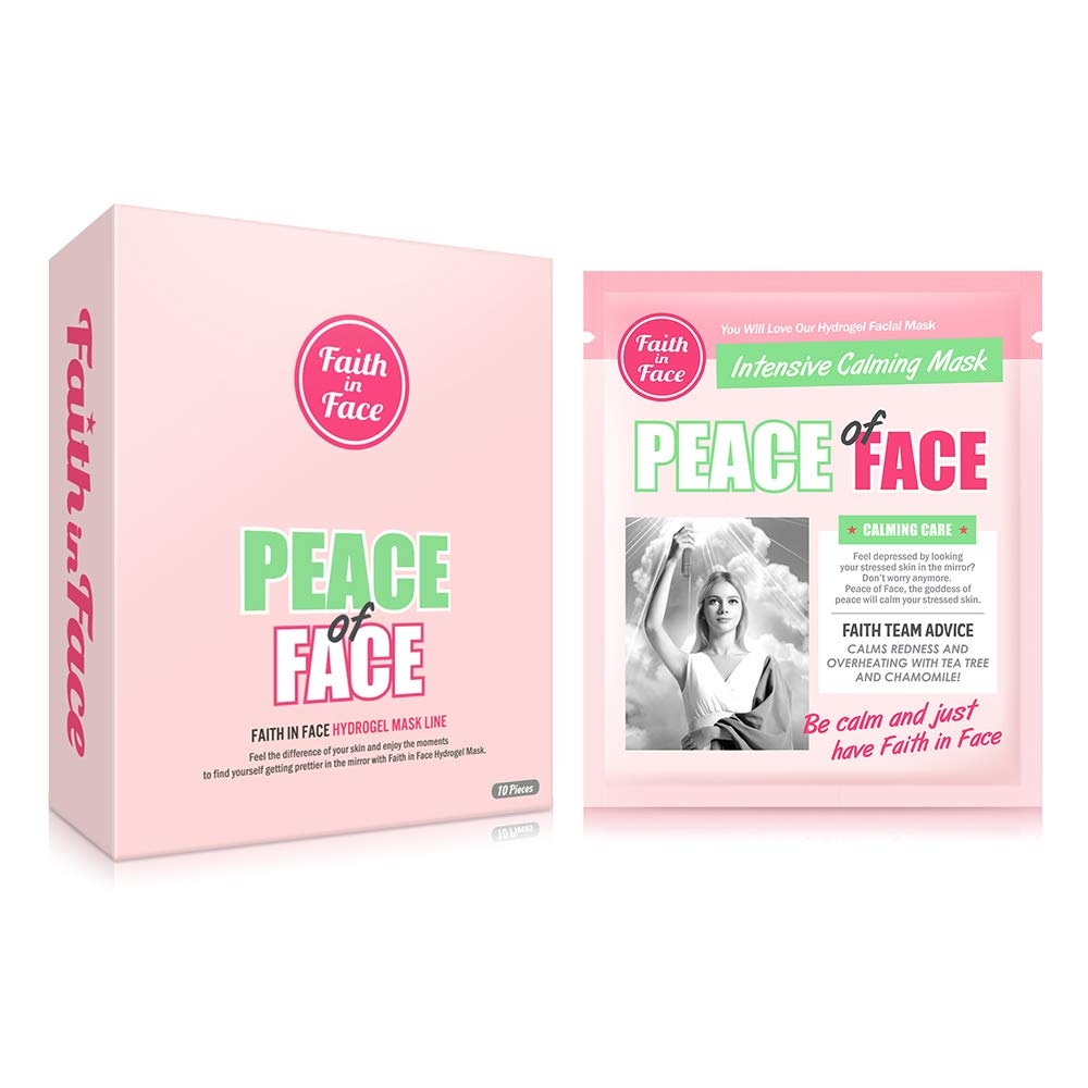 Faith in Face 10 Pcs Peace of Face Calming Care Hydrogel Facial Sheet Mask Pack, Calm Stressed Skin Intensive Face Hydrating Moisturizing Brightening Soothing Sebum Control K Beauty Skincare