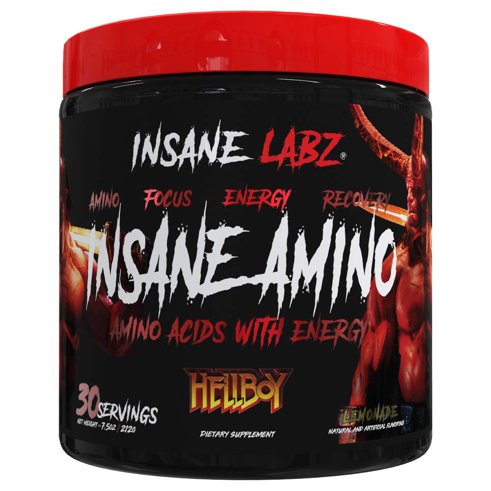 Insane Labz Insane Amino Hellboy Edition, BCAA with Energy Focus Muscle Recovery, Intra Workout Powder, 2 1 1 Branched Chain Amino Acid Powder, 30 Srvgs, Lemonade