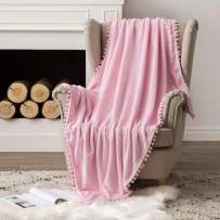MIULEE Ultra Soft Fleece Blanket Luxurious Fuzzy for Couch or Sofa Lightweight Fluffy Warm Bed Blanket with Cute Pompom Tassels - Super Cozy for Napping Sleeping Twin Size 60x80 inches Pink