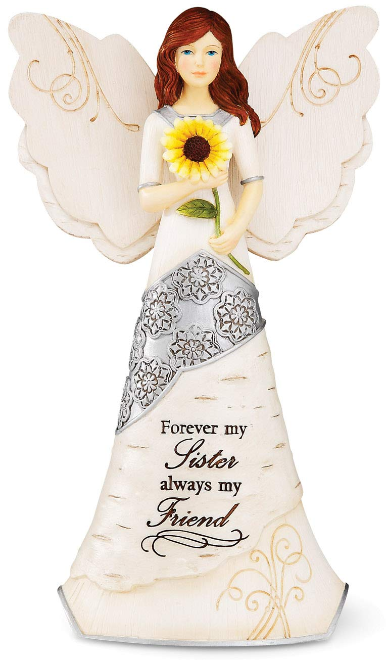 Elements Sister Angel Figurine by Pavilion, 6-1/2-Inch, Holding Sunflower, Inscription Forever My Sister Always My Friend