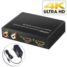 Neoteck 4K 30Hz HDMI Splitter 1X2 with HDMI Audio Extractor + Optical and R/L Audio Output Powered Splitter 1 in 2 Out Signal Distributor Support 3D for PS4 DVD Blu-ray Player HD TV Projector