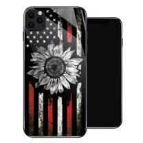 iPhone 11 Pro Max Case,Retro Sunflower Flag iPhone 11 Pro Max Cases for Girls,Tempered Glass Pattern Design Back Cover[Shock Absorption] Soft TPU Bumper Frame Support Case for iPhone 11 Pro Max White