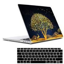 Lapac MacBook Air 13 Inch Tree Case 2020 2019 2018 Release A2337 M1 A2179 A1932, Golden Protective Hard Shell Cover for New MacBook Air 13 Retina Display Fits Touch ID with Keyboard Cover,Elk Black