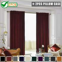 """Twin Six Super Soft Blackout Velvet Curtains with 2 Pillow Case,Thermal Insulated Solid Heavy Rod Pocket Window Drapes for Living Room (Burgundy, 52""""x84"""",2 Panels)"""