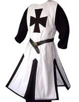 Mens Medieval Crusader Knights Templar Surcoat Cloak Renaissance Warrior Halloween Cosplay Costumes Robe