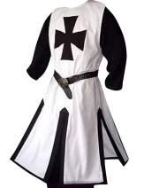 Mens Medieval Crusader Knights Templar Surcoat Cloak Renaissance Warrior Halloween Cosplay Costumes Robe