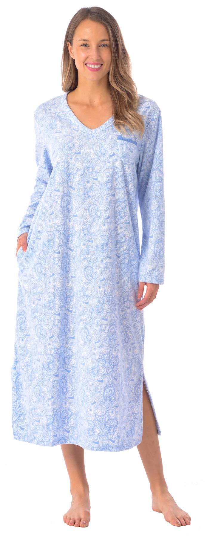 Patricia Women's Soft Minky Polar Fleece Long Pajama Nightgown Sleepwear