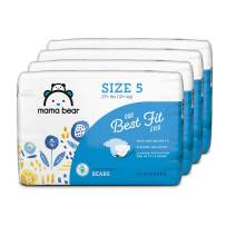 Amazon Brand - Mama Bear Best Fit Diapers Size 5, 124 Count, Bears Print (4 packs of 31) [Packaging May Vary]