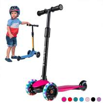 Kick Scooter for Kids Boys Girls, 3 Wheel Scooter for Toddler for 2-5 Years Old, Adjustable Height, Light Up Flashing Wheels, Removable Handlebar, Lean to Steer, Easy to Carry