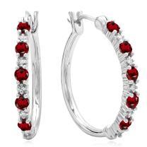 Dazzlingrock Collection Round White Diamond & Gemstone Ladies Fine Dainty Hoop Earrings, Sterling Silver