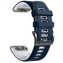 Notocity Compatible with Fenix 6 pro Watch Band for Fenix 6/Fenix 6 Pro/Fenix 5/Fenix 5 Plus/Forerunner 935/Forerunner 945/Approach S60/Quatix 5 (Dark Blue-White)