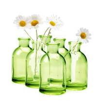 "Chive - Loft, Set of 10 Green Tall Bottle 1.75"" Width, 3.25"" Tall Small Glass Flower Vases, Decorative Rustic Floral Vases for Home Decor Centerpieces, Events, Single Flower Bud Vase, Vintage Look"