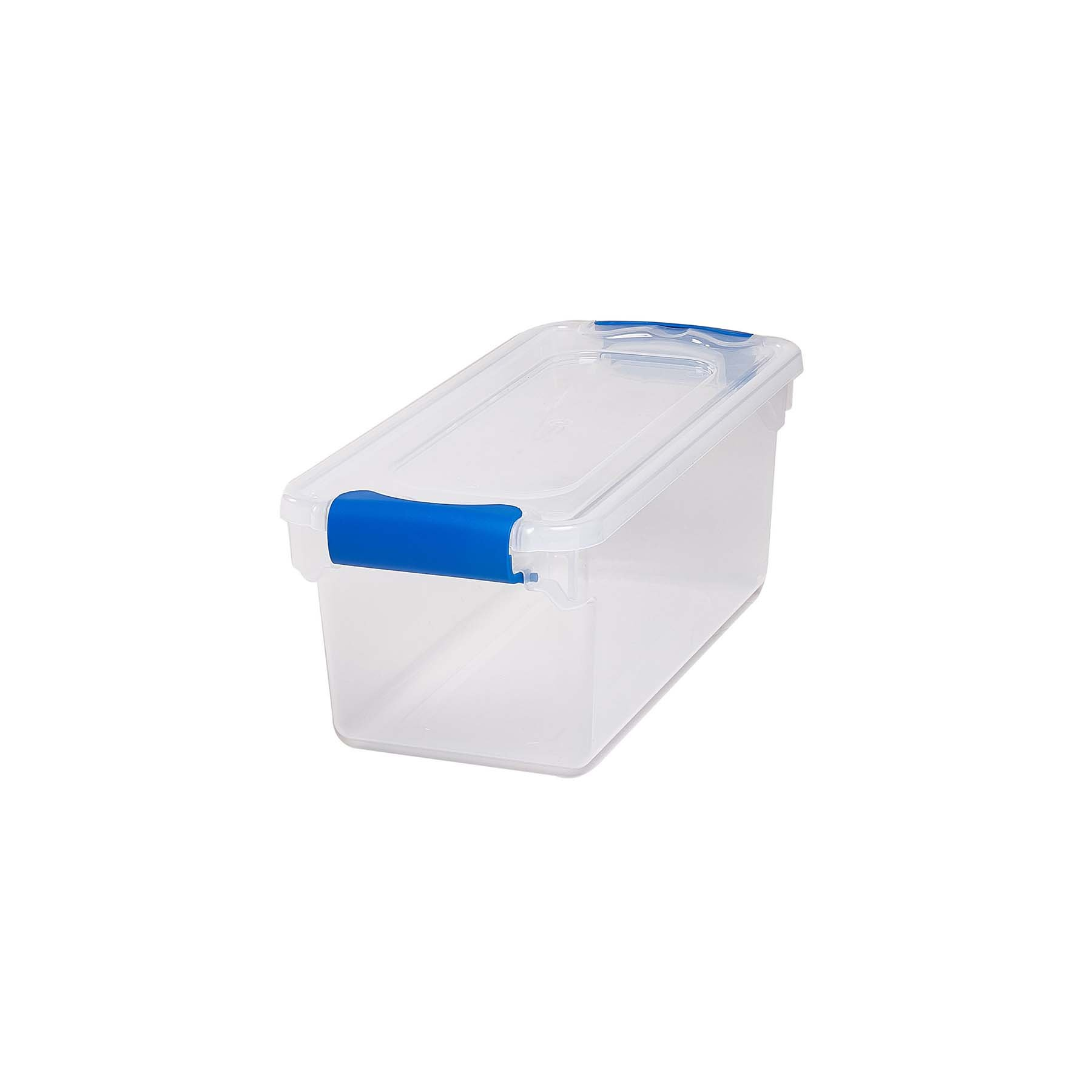 HOMZ 3410CLRDC.05 Plastic Storage, Modular Stackable Storage Bins with Blue Latching Handles, 7.5 Quart, Clear, 5-Pack