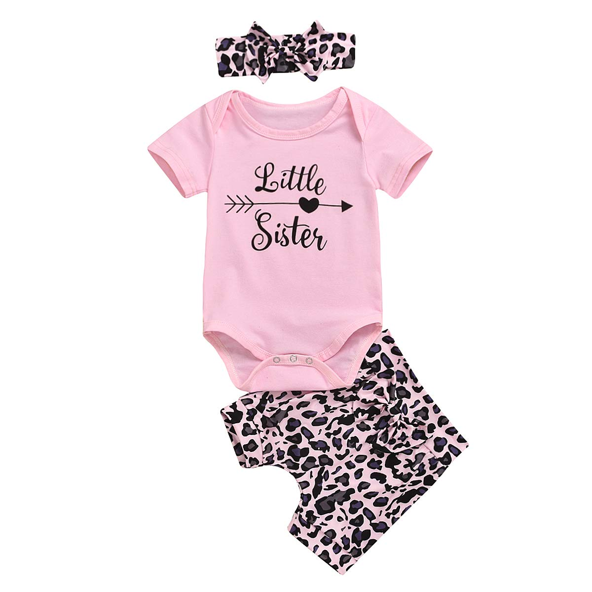 Newborn Baby Girls Little Sister Big Sister Matching Outfits Short Sleeve Romper Shirt Top+Leopard Shorts