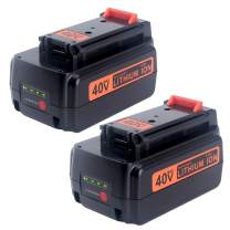 Biswaye 2 Pack 3.0Ah 40V Lithium Battery LBXR36 Replacement for Black and Decker 40V Max Cordless Power Tool LST540 LST136W LCS1240 Lithium Battery LBXR36 LBXR2036 LBX1540 LBX2040 LBX2540
