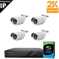 CTVISION Ultra HD 5MP (2.5X1080P) Home Business Security Camera Systems,4-Channel PoE Video Security System(2TB HDD),4pcs 5MP Outdoor Weatherproof Nightvision PoE Bullet IP Security Camera