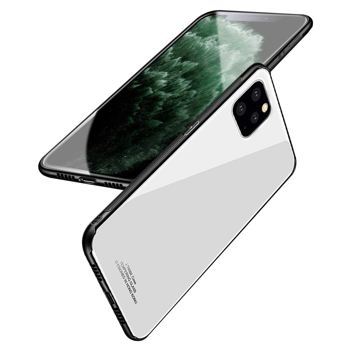 BeautyWill Case for iPhone 11 Pro Max Tempered Glass Case Scratch-Resistant Pure Color Soft TPU Bumper Shockproof Cover with Lanyard Hole White