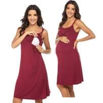 Ekouaer Women's Nursing Nightgown Maternity Dress Breastfeeding Hospital Gown Full Slips Sleep Shirts S-XXL