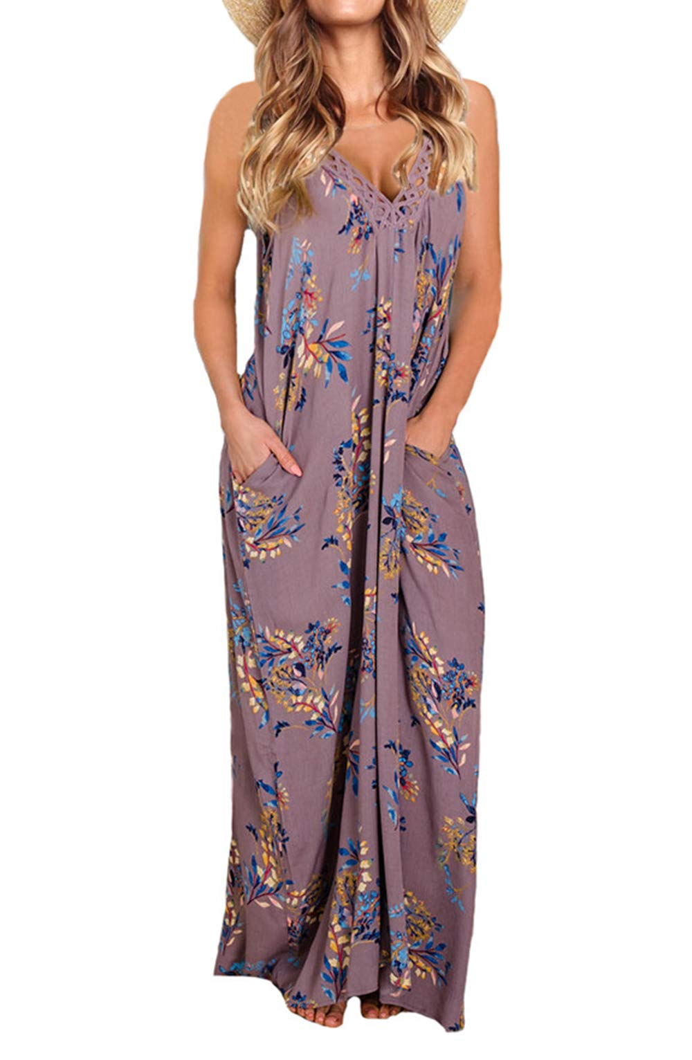 PRETTYGARDEN Women's Spaghetti Strap Floral Print Deep V Neck Boho Maxi Long Flowy Dress with Pocket (Purple, Medium)