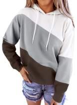 BLENCOT Women's Tie Dye Color Block Hooded Sweatshirt Casual Pullover Hoodies with Pocket