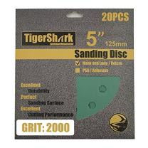 TigerShark 5 Inch Sanding Discs 8 Hole Wet Dry Grit 2000 20pcs Pack Special Anti Clog Coating Film Green Line Hook and Loop Dustless Random Orbital Sander Paper Ultra Fine