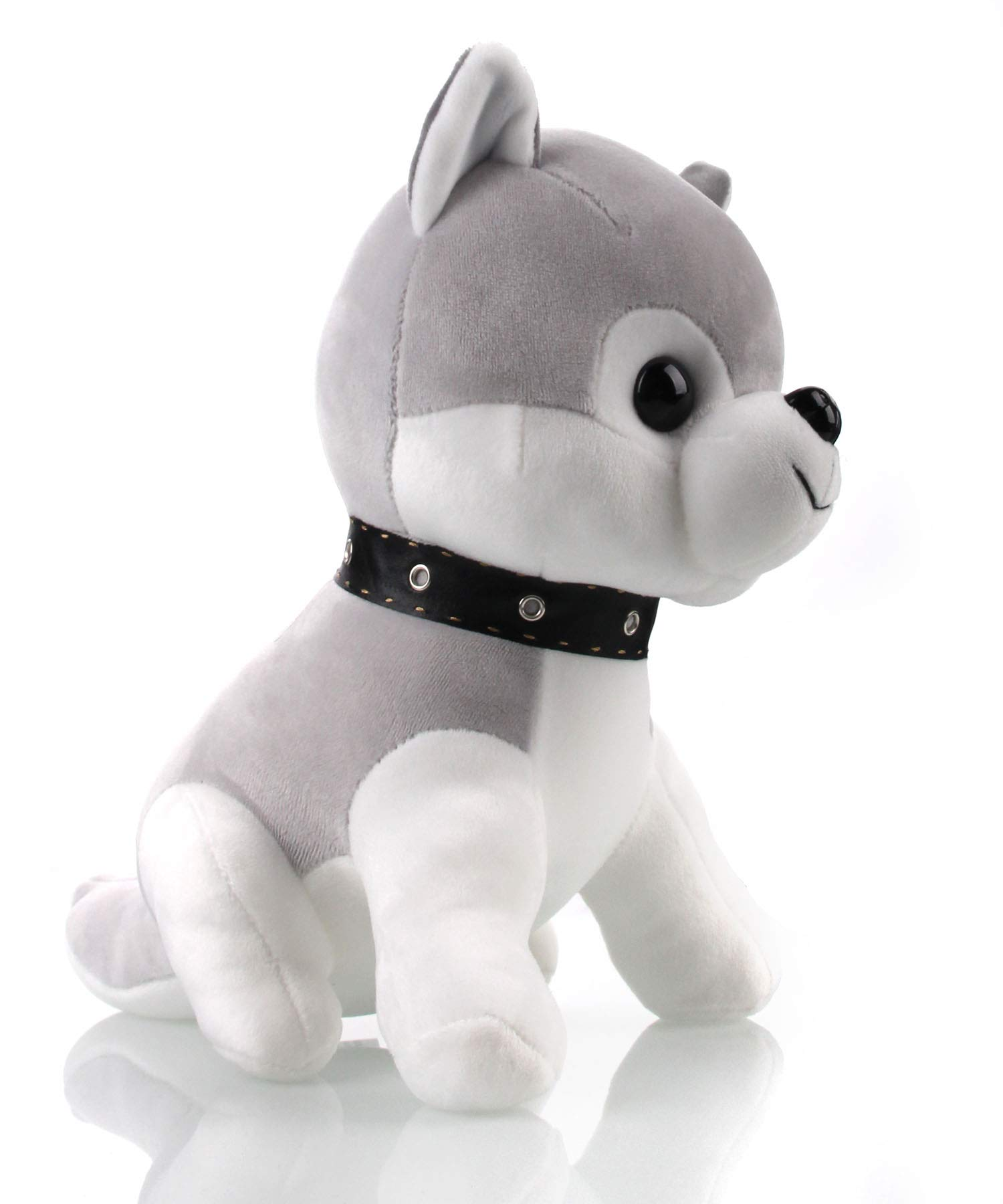 AIXINI Soft Plush Husky Puppy Dog Stuffed Animals Toys, Cute Elastic – Gray 11inch Gifts for Kids Baby Party Funny Bed Time