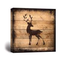 wall26 - Square Canvas Wall Art - Deer Silhouette on Rustic Wood Board Texture Background - Giclee Print Gallery Wrap Modern Home Decor Ready to Hang - 12x12 inches