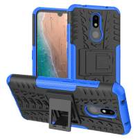 Nokia 3V Case,Nokia 3.2 Case,PUSHIMEI Air Cushion Heavy Duty Shockproof with Kickstand Hard PC Back Cover Soft TPU Dual Layer Protection Phone Stand Case Cover Nokia 3V(Blue Kickstand case)