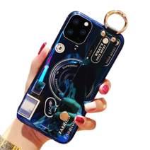 Aulzaju iPhone 11 Pro Max Bling Wrist Strap Case, iPhone 11 Pro Max Shiny Stylish Foldable Kickstand Case Soft TPU Holographic Hybrid Camera Cover for iPhone 11 Pro Max-Black