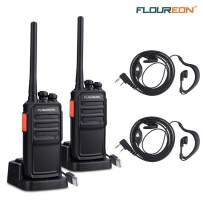 FLOUREON Rechargeable Two Way Radios 2 Pack Long Range Distance with Earpiece and Li-ion Battery USB Charger UHF 400-480MHz 16 Channel Handheld Interphone(Black, 1 Pair)