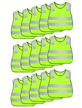 AIEOE Kids Yellow High Visibility Reflective Vest Children Hi-vis Outdoor Sports Safety Waistcoat 15 Pack