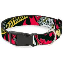Buckle-Down Dog Collar Plastic Clip Batman Caped Crusader Available In Adjustable Sizes For Small Medium Large Dogs