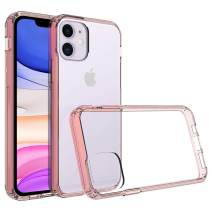 Olixar for iPhone 11 Bumper Case - Hard Tough Cover - Crystal Clear Back - Wireless Charging Compatible - ExoShield - Shock Protection - Rose Gold & Clear