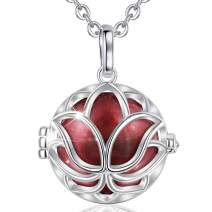 """AEONSLOVE Harmony Ball Pregnancy Bola Necklace, Lotus Flower Harmony Ball Locket Angel Chime Caller Bell 20mm Mexican Bola Balls Pendant Necklaces Jewelry Gifts for Women, 30""""/45'' Chain"""