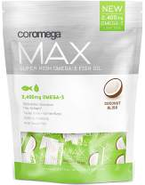 Coromega MAX High Concentrate Omega 3 Fish Oil, 2400mg Omega-3s with 3X Better Absorption Than Softgels, 60 Single Serve Packets, Coconut Bliss Flavor; Anti Inflammatory Supplement with Vitamin D