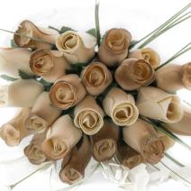 The Original Wooden Rose 50 Year Anniversary Gold and White Flower Bouquet Closed Bud (2 Dozen)