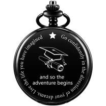 """SIBOSUN Graduation s for Him - Pocket Watch - Engraved""""and so The Adventure Begins' – Perfect College/High School Graduation or for Son Daughter 